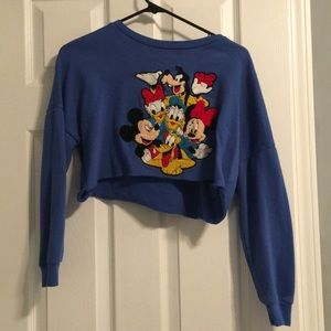 Vintage navy blue disney crop top crewneck sweater